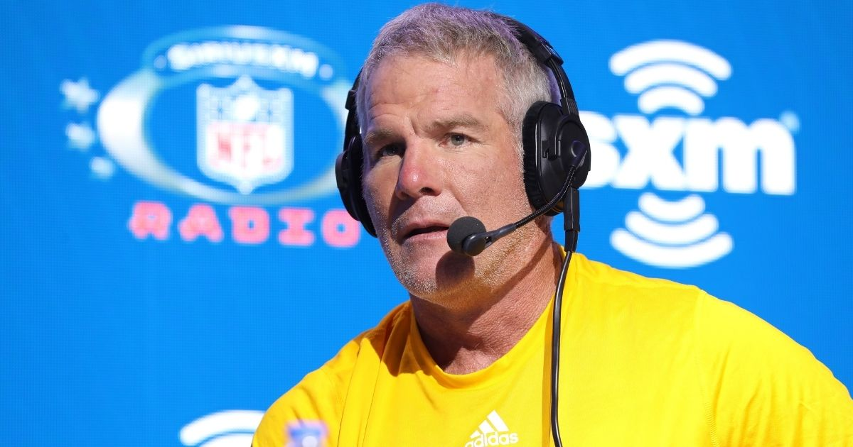 Former NFL player Brett Favre speaks onstage during day 3 of SiriusXM at Super Bowl LIV on Jan. 31, 2020, in Miami.