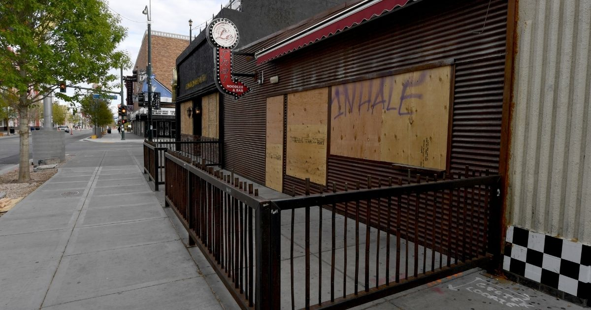 The Le Thai restaurant in the Fremont East Entertainment District of Las Vegas is seen closed and boarded up as a result of the statewide coronavirus shutdown March 22, 2020.