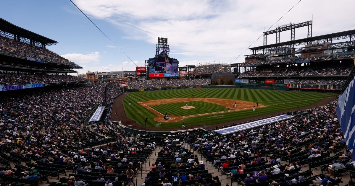 This photo shows a general view of the stadium in the third inning during a game between the Colorado Rockies and the Los Angeles Dodgers at Coors Field on Sunday in Denver.