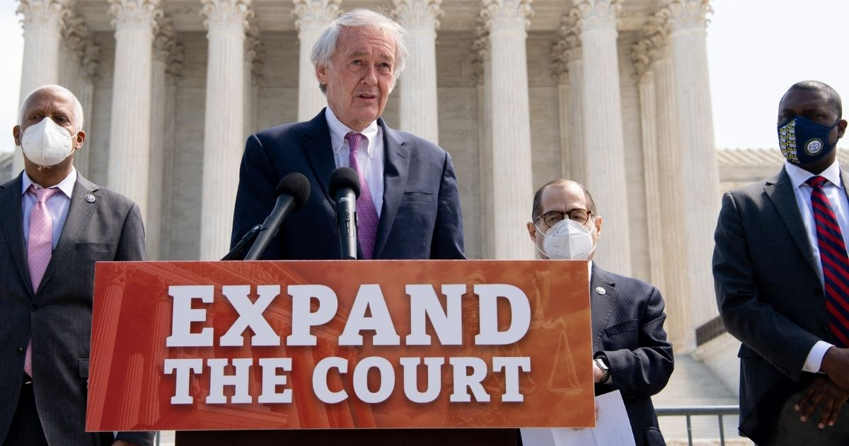Democrats including (from left to right) Rep. Hank Johnson of Georgia, Sen. Ed Markey of Massachusetts and Reps. Jerrold Nadler and Mondaire Jones of New York introduce a bill in Congress to pack the Supreme Court in Washington, D.C., on Thursday.