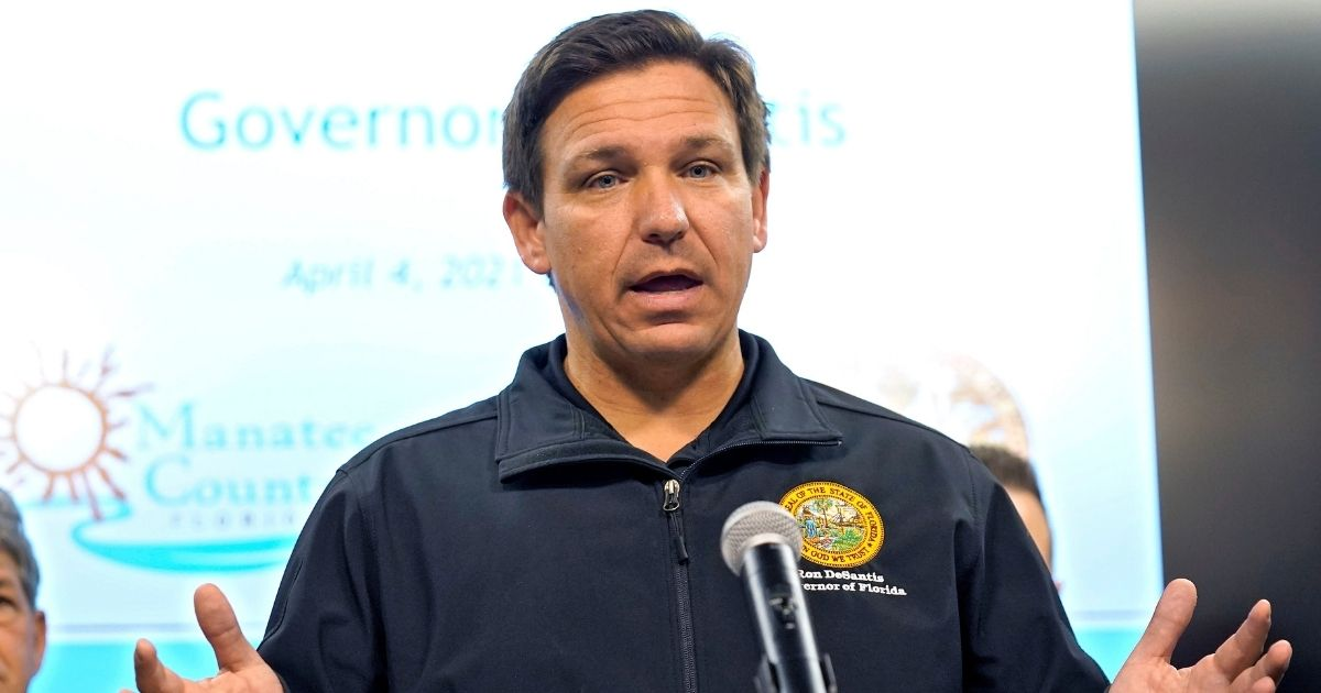 Florida Gov. Ron DeSantis speaks during a news conference at the Manatee County Emergency Management office in Palmetto, Florida, on April 4.
