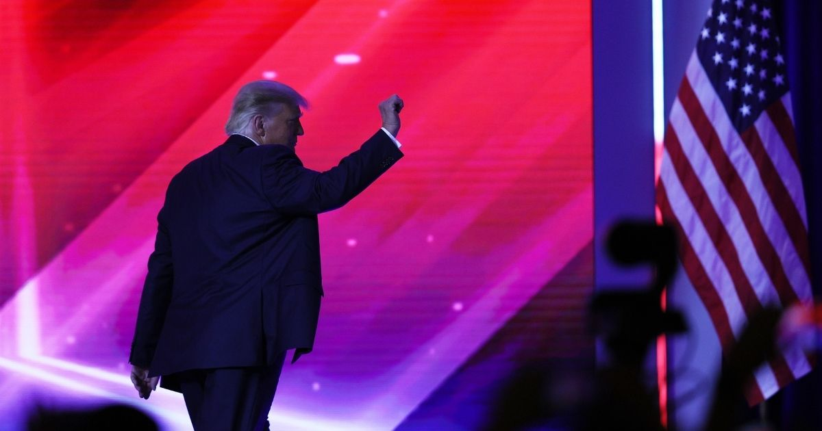 Former President Donald Trump walks off stage after an address to the Conservative Political Action Conference held in the Hyatt Regency on Feb. 28 in Orlando, Florida.