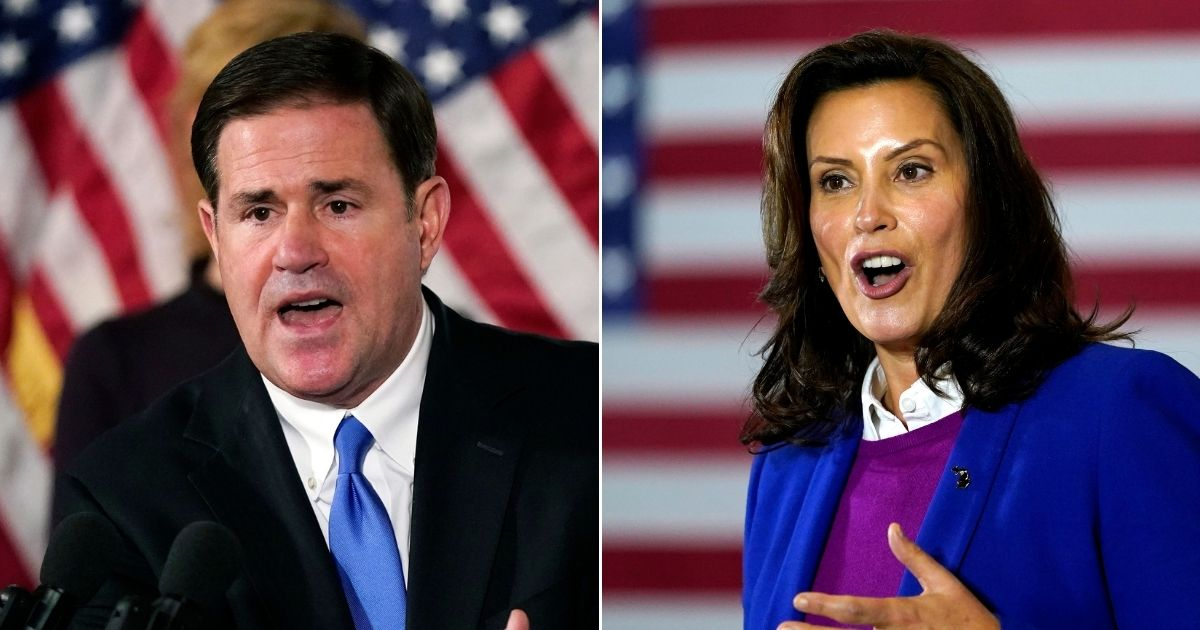 Republican Arizona Gov. Doug Ducey, left, and Democratic Michigan Gov. Gretchen Whitmer, right, have taken opposite approaches to government power during the COVID pandemic.