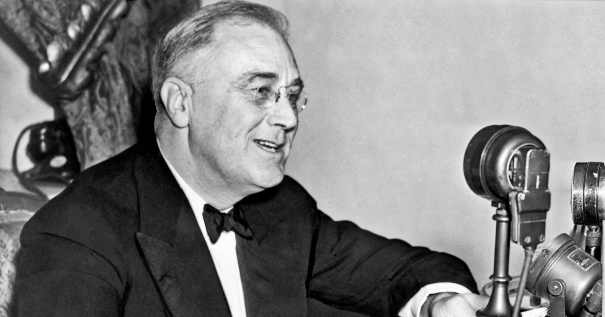 President Franklin D. Roosevelt speaks during one of his fireside chats in Washington in 1937.