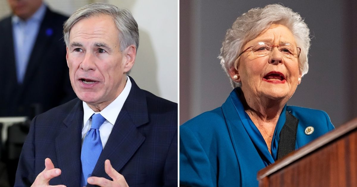 Republican Gov. Greg Abbott of Texas, left, and Republican Gov. Kay Ivey of Alabama, right, discussed their plans to move on from COVID-19 restrictions.