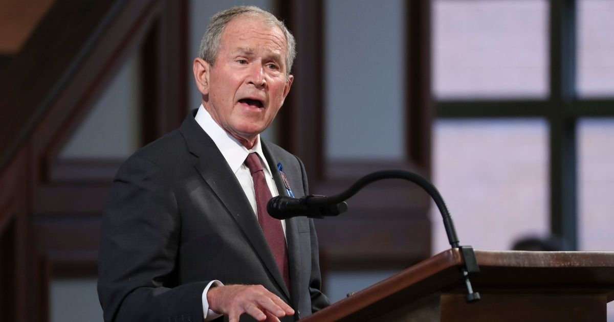 Former President George W. Bush speaks during the funeral service of the late Democratic Rep. John Lewis of Georgia at Ebenezer Baptist Church on July 30, 2020, in Atlanta.