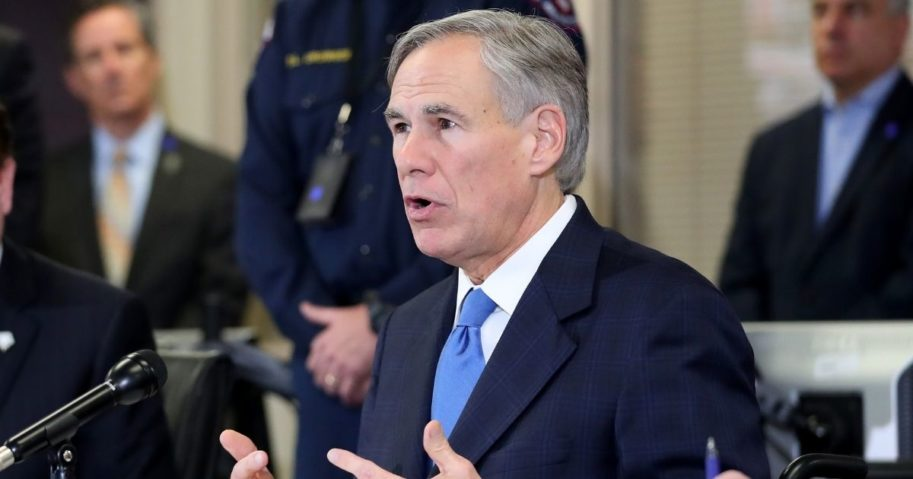 Republican Texas Gov. Greg Abbott addresses the media during a press conference held at Arlington Emergency Management on March 18, 2020, in Arlington, Texas.