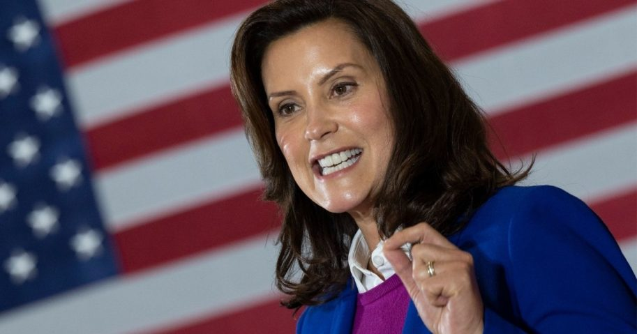 Democratic Gov. Gretchen Whitmer of Michigan speaks at Beech Woods Recreation Center in Southfield, Michigan, on Oct. 16, 2020.