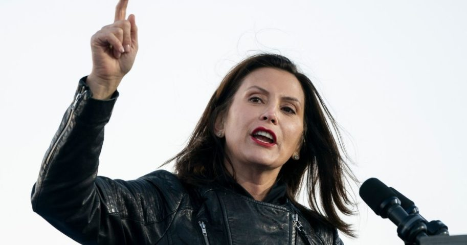 Democratic Gov. Gretchen Whitmer speaks during a drive-in campaign rally with Democratic presidential nominee Joe Biden and former President Barack Obama at Belle Isle on Oct. 31, 2020, in Detroit.