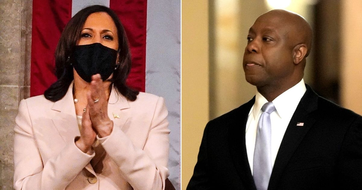 At left, Vice President Kamala Harris applauds President Joe Biden as he addresses a joint session of Congress at the Capitol in Washington on Wednesday. At right, Sen. Tim Scott of South Carolina walks through the Capitol before delivering the Republican response to Biden's speech.