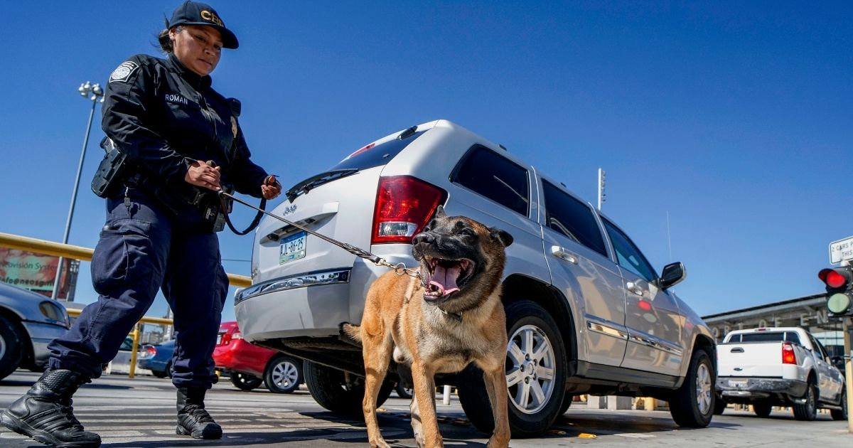 An Immigration and Customs Enforcement K-9 agent checks automobiles for contraband in the line to enter the United States at the San Ysidro Port of Entry on Oct. 2, 2019, in San Ysidro, California.