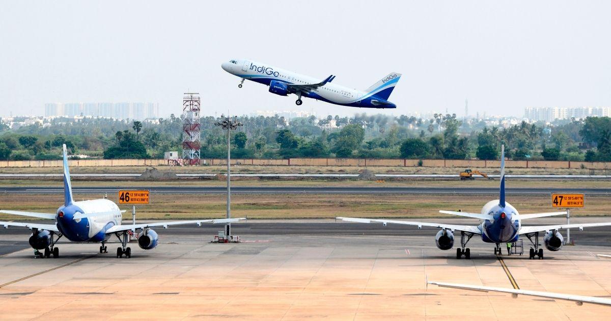 An Indigo flight directed to Varanasi, India, takes off at the Kamaraj domestic airport in Chennai on May 25, 2020.