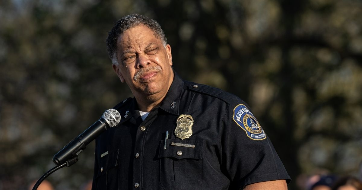 Indianapolis Police Chief Randal Taylor gives a speech during a vigil to mourn the eight murdered FedEx Ground employees at Krannert Park on Saturday in Indianapolis.