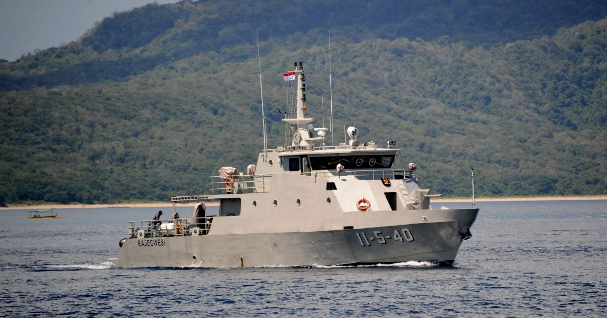 The Indonesian Navy patrol boat KRI Rajegwesi arrives at the naval base in Banyuwangi, East Java province on Saturday as the military continues search operations off the coast of Bali for the Navy's KRI Nanggala (402) submarine that went missing Wednesday during a training exercise.