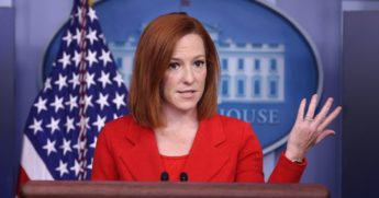 White House Press Secretary Jen Psaki talks to reporters during her daily news conference in the Brady Press Briefing Room at the White House on Monday in Washington, D.C.