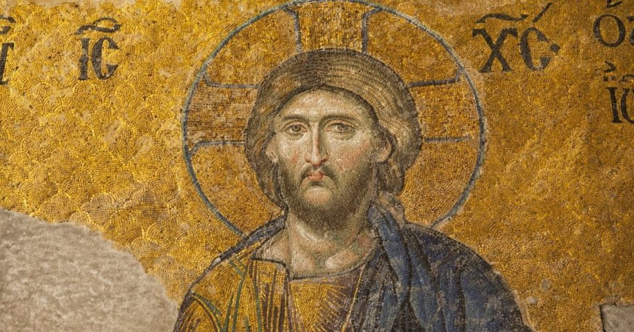 A 13th century mosaic of Jesus Christ is seen in the Hagia Sophia temple in Istanbul.