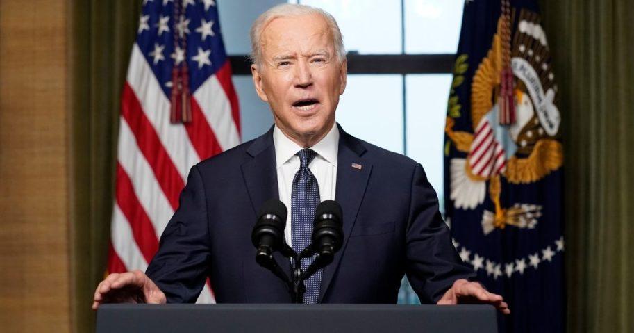 President Joe Biden speaks from the Treaty Room in the White House on Wednesday in Washington, D.C.