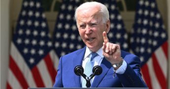 President Joe Biden speaks in the Rose Garden of the White House in Washington, D.C., on Thursday.
