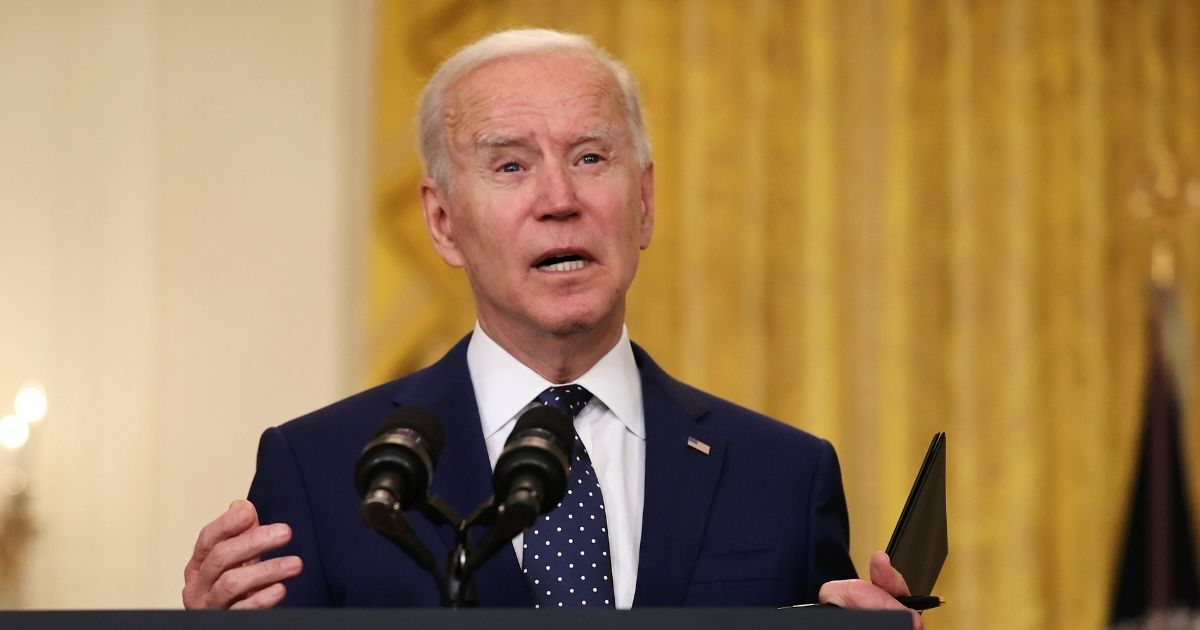 President Joe Biden announces new economic sanctions against the Russia government from the East Room of the White House on Thursday in Washington, D.C.