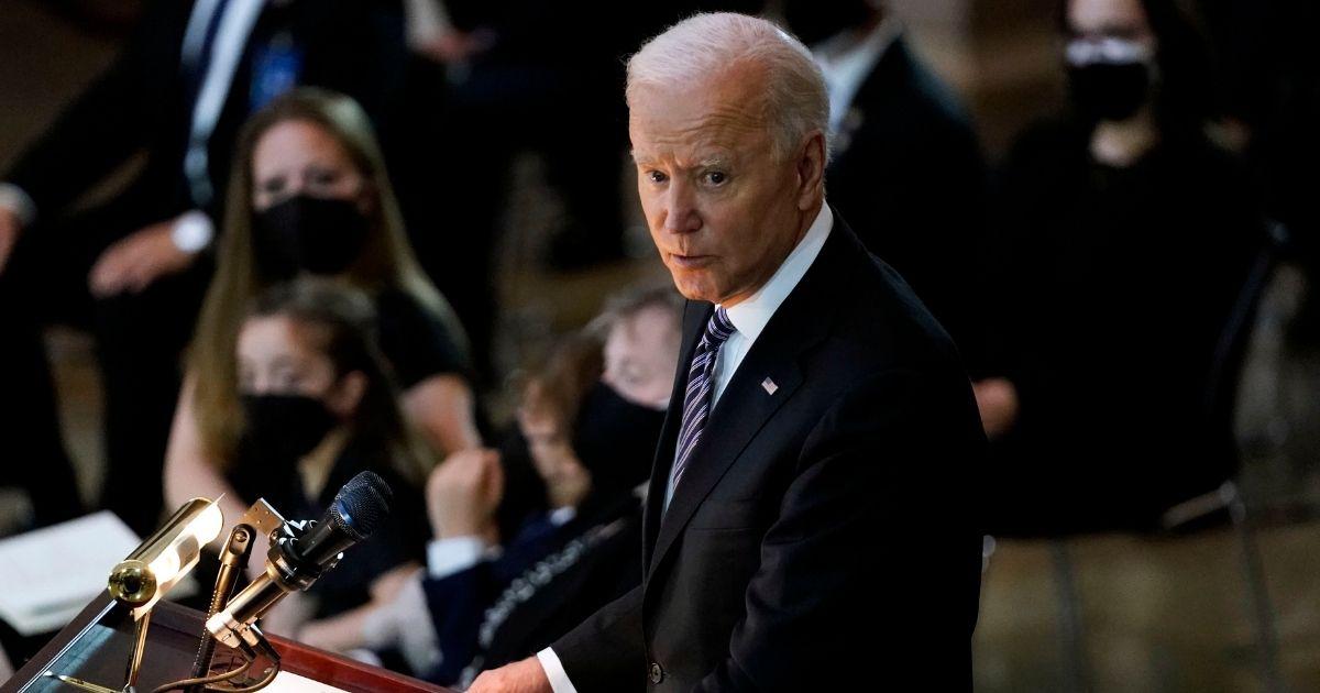 President Joe Biden speaks during a ceremony at the U.S. Capitol rotunda on Tuesday in Washington, D.C.