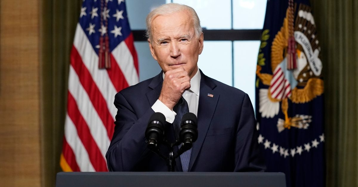 President Joe Biden speaks from the Treaty Room in the White House about the withdrawal of U.S. troops from Afghanistan on April 14, 2021, in Washington, D.C.