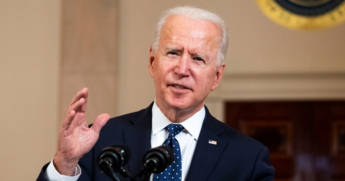 President Joe Biden makes remarks in response to the verdict in the murder trial of former Minneapolis police officer Derek Chauvin at the Cross Hall of the White House on Tuesday in Washington, D.C.