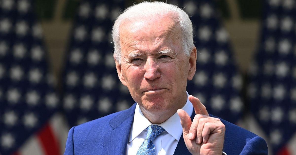 President Joe Biden speaks in the Rose Garden of the White House in Washington on April 8.