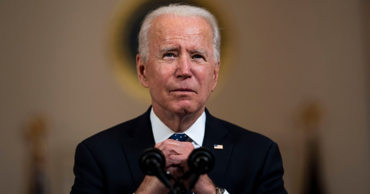 President Joe Biden makes remarks at the Cross Hall of the White House on Tuesday in Washington, D.C.