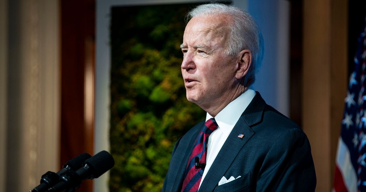 President Joe Biden delivers remarks during a virtual Leaders Summit on Climate with 40 world leaders at the East Room of the White House on Thursday in Washington, D.C. President Biden pledged to cut greenhouse gas emissions by half by 2030.