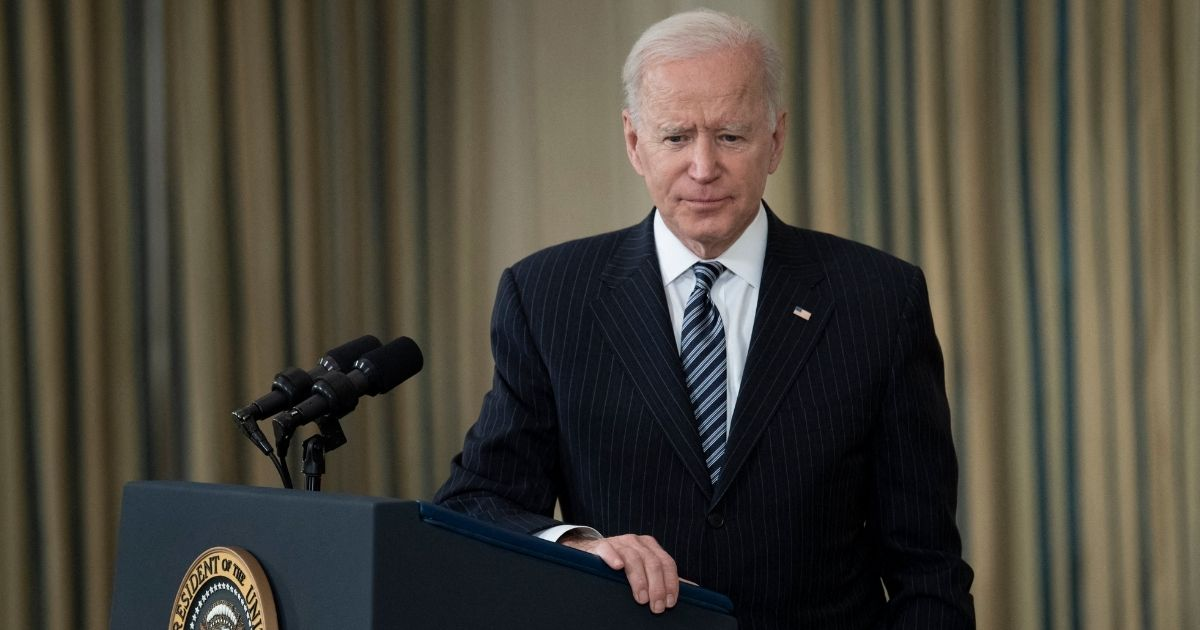 President Joe Biden delivers remarks from the State Dining Room at the White House on April 6, 2021, in Washington, D.C.