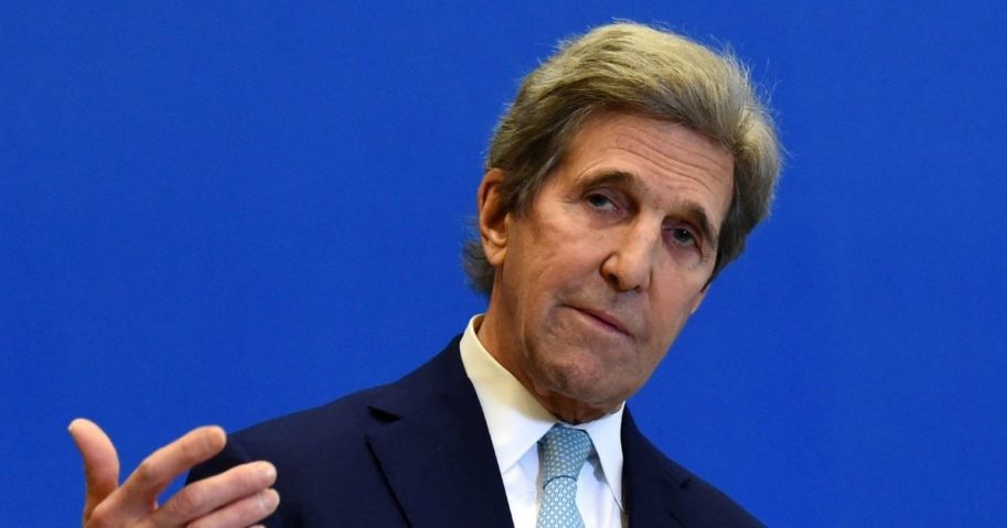 Special Presidential Envoy for Climate John Kerry gestures as he addresses a news conference in Paris on March 10, 2021.