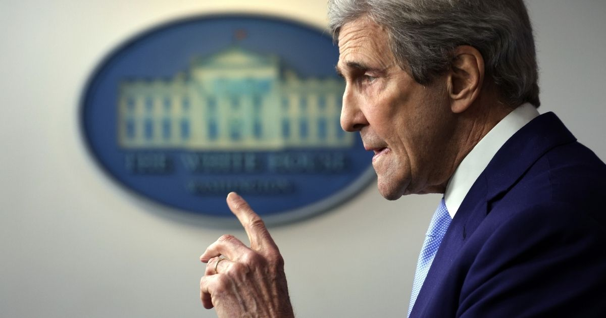 Special Presidential Envoy for Climate and former Secretary of State John Kerry speaks during a daily press briefing at the James Brady Press Briefing Room of the White House on Thursday in Washington, D.C.