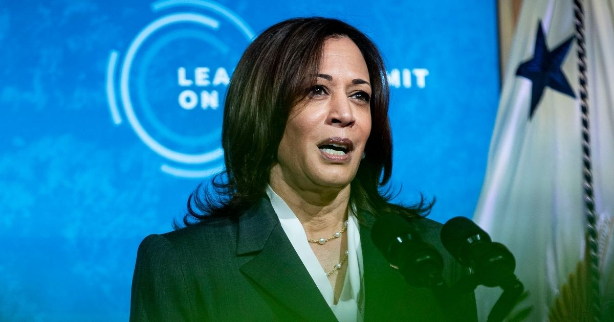 Vice President Kamala Harris speaks during a virtual Leaders Summit on Climate with 40 world leaders in the East Room of the White House on Thursday in Washington, D.C.