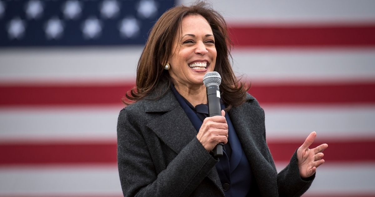 Then-vice presidential nominee Kamala Harris speaks at the IBEW Local Union 58 on Oct. 25, 2020, in Detroit.