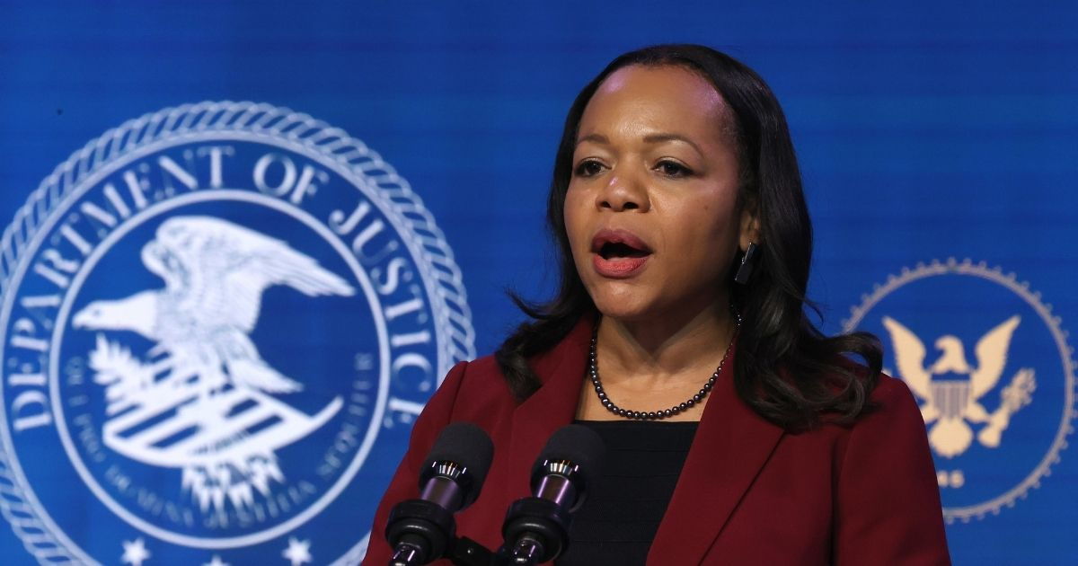 Kristen Clarke delivers remarks after being nominated to be civil rights division assistant attorney general by then-President-elect Joe Biden at The Queen theater Jan. 7, 2021, in Wilmington, Delaware.