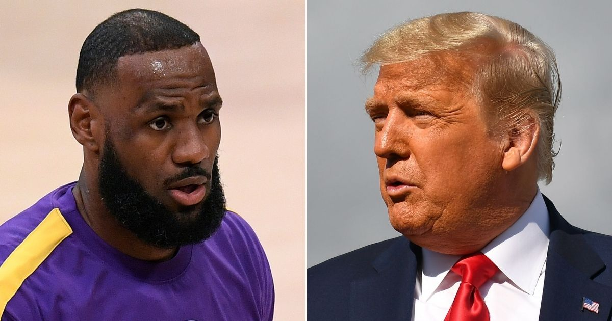 LeBron James of the Los Angeles Lakers, left, and former President Donald Trump, right.