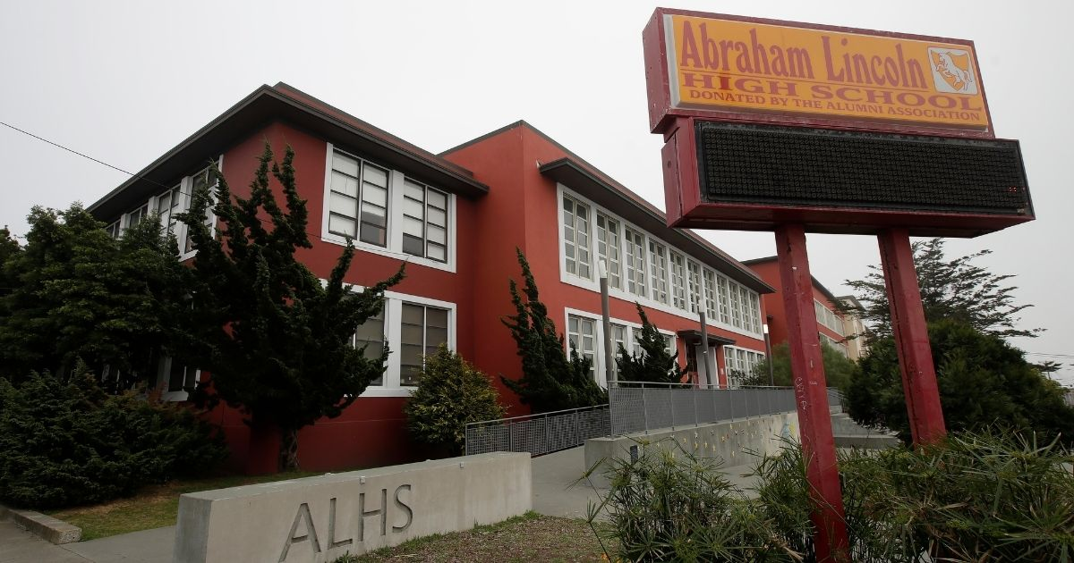 Abraham Lincoln High School in San Francisco, seen March 12, 2020, is one of 44 schools that had been selected to be renamed.