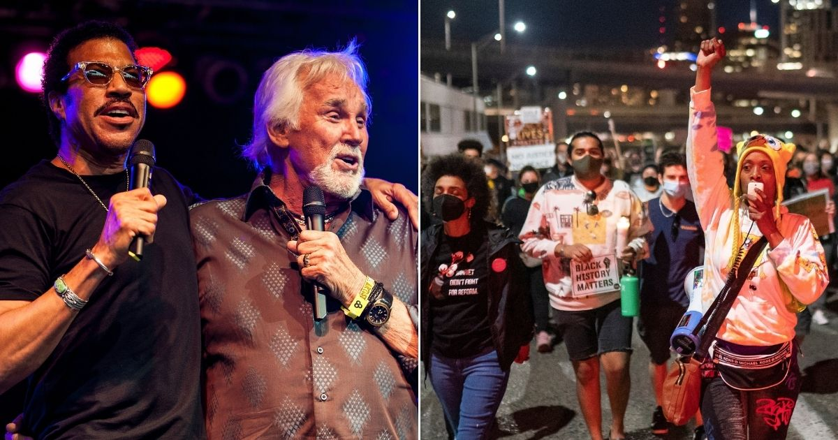 Lionel Richie, left, and Kenny Rogers are pictured together during a performance at the Bonnaroo Music and Arts Festival on June 10, 2012, in Manchester, Tennessee. At right, protesters march along the Hawthorne Bridge following the police shooting of a homeless man in Lents Park on Friday in Portland, Oregon.