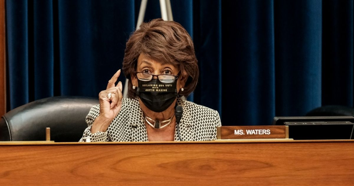 Democratic Rep. Maxine Waters of California listens to Health and Human Services Secretary Alex M. Azar at a hearing before the House Select Subcommittee on the Coronavirus Crisis in the Rayburn Building on Oct. 2, 2020, in Washington, D.C.