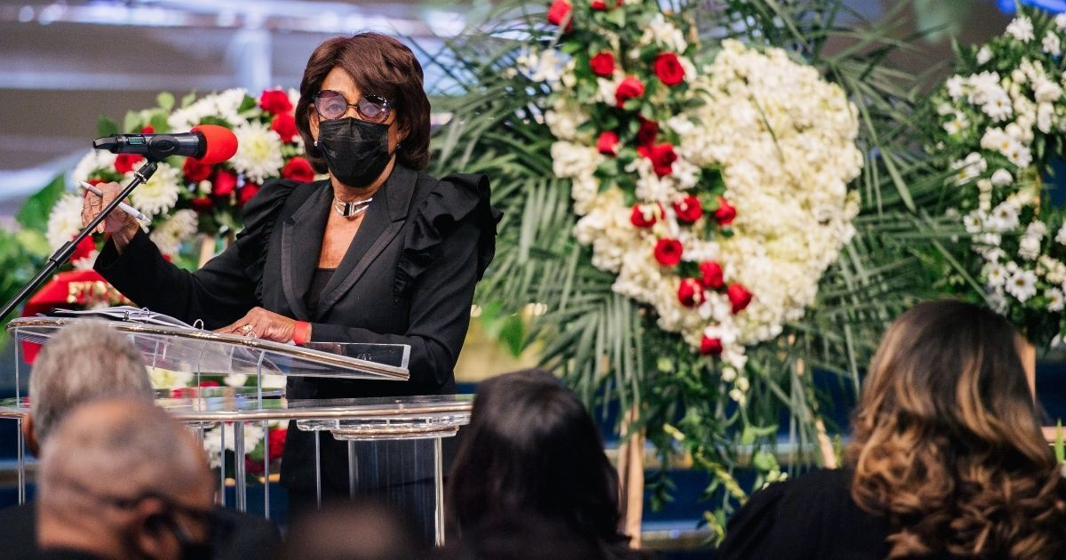 Democratic Rep. Maxine Waters of California speaks at the Rev. Dr. Frederick Price's memorial service on March 6, 2021, in Los Angeles.