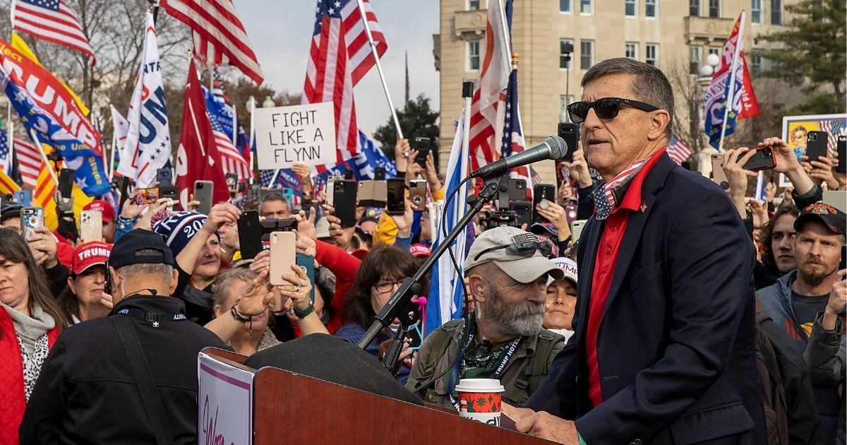 Former National Security Advisor Michael Flynn speaks during a protest of the outcome of the 2020 presidential election outside the Supreme Court on Dec. 12, 2020, in Washington, D.C.