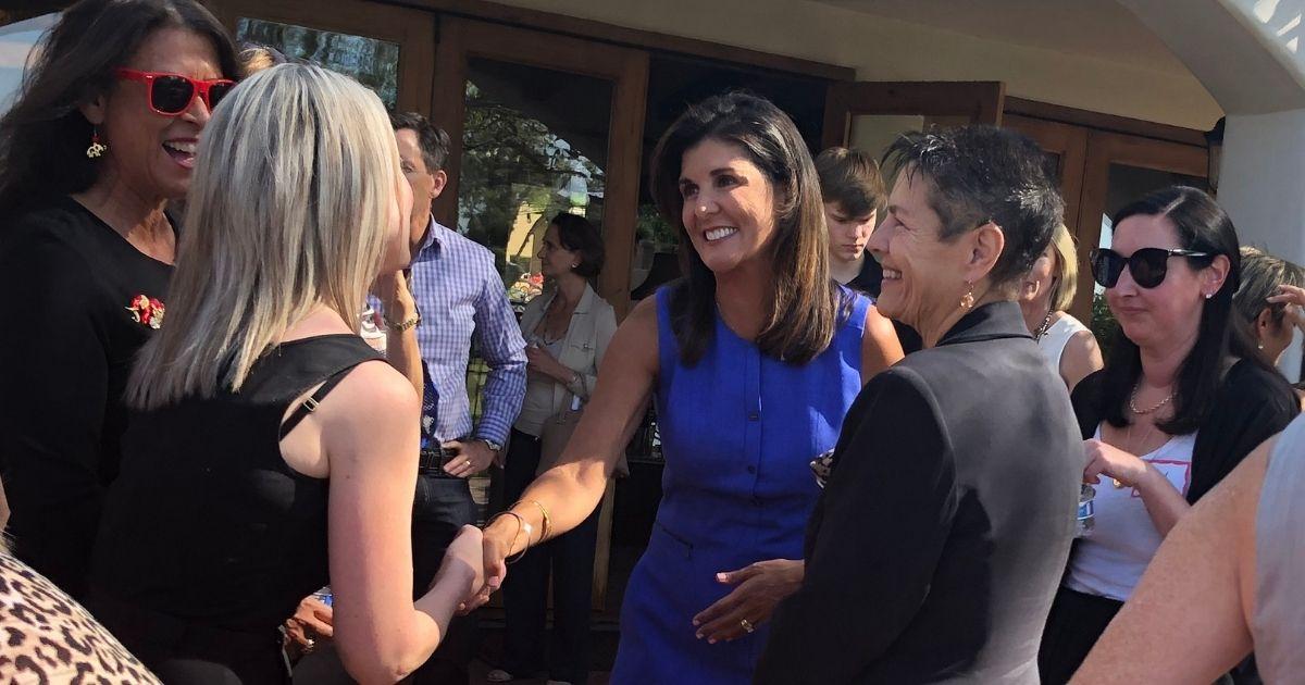 Former U.N. Ambassador Nikki Haley speaks at a gathering of conservative women in Phoenix on Thursday.