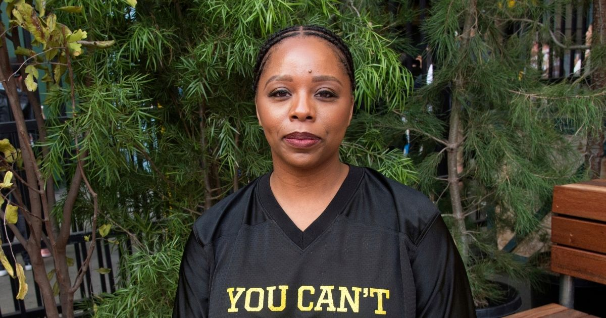 BLM co-founder Patrisse Cullors poses for a photo on day three of Summit LA18 in Los Angeles on Nov. 4, 2018.