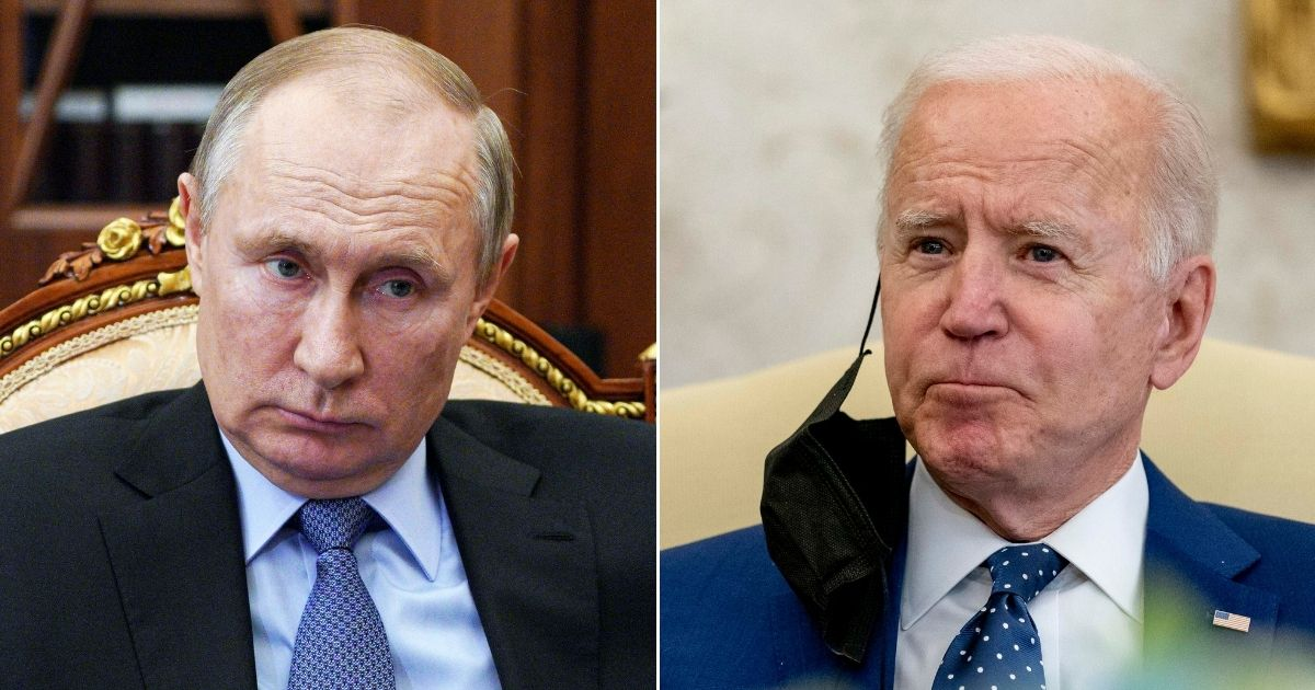 At left, Russian President Vladimir Putin listens during a meeting in the Kremlin in Moscow on April 1. At right, President Joe Biden pauses during a meeting at the White House in Washington on Thursday.