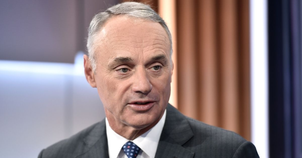"""MLB Commissioner Rob Manfred visits """"Mornings with Maria"""" hosted by Maria Bartiromo at Fox Business Network Studios on Sept. 30, 2019, in New York City."""