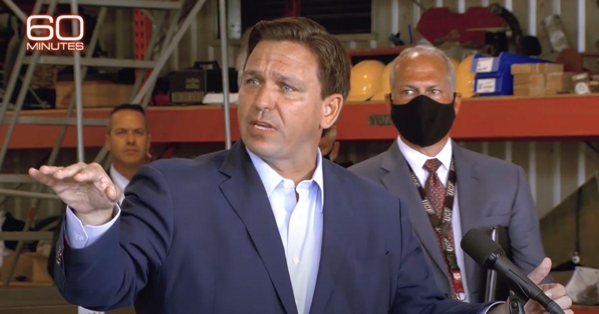 "Florida Gov. Ron DeSantis is seen on the CBS News show ""60 Minutes."""