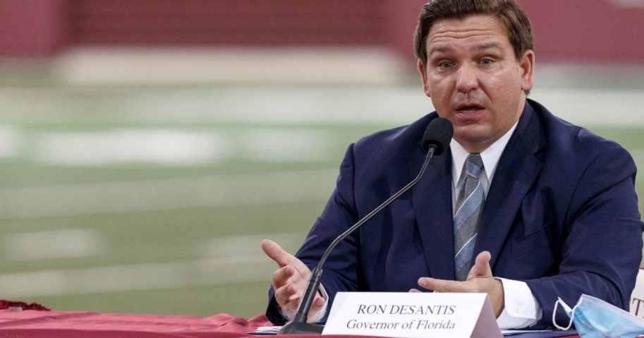 Republican Florida Gov. Ron DeSantis speaks during a collegiate athletics roundtable about fall sports at the Albert J. Dunlap Athletic Training Facility on the campus of Florida State University on Aug. 11, 2020 in Tallahassee, Florida.