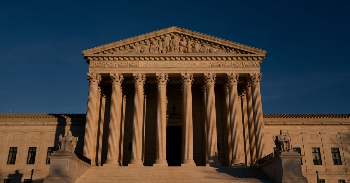The U.S. Supreme Court stands on Dec. 11, 2020 in Washington, D.C.