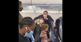 A Spirit Airlines flight attendant tells a family they have to leave because their 2-year-old is unmasked.