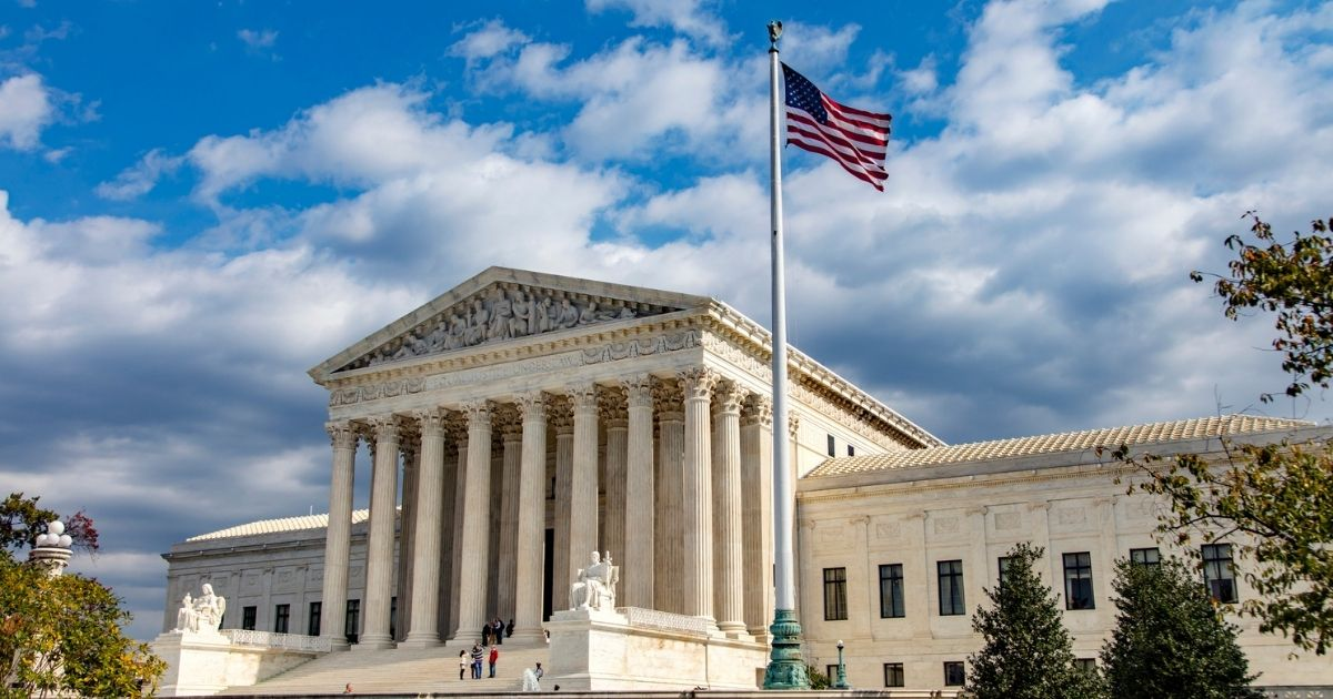 An angular, landscape view of the U.S. Supreme Court building in Washington D.C.